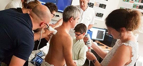 Training of doctors for pulmonary ultrasound